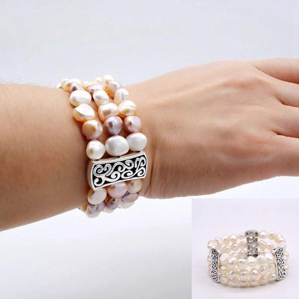 Três linhas de multi-cor natural pulseira de pérolas de água doce, pérola da forma natural Barroco, charme presente da mulher