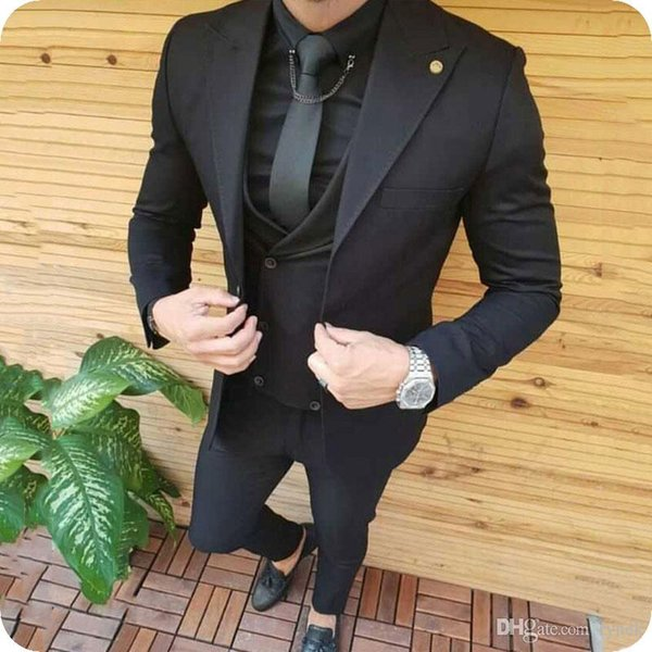Black Men Suits for Wedding Man Suits Groom Tuxedos Wide Peaked Lapel 3Piece Slim Fit Groomsmen Blazers Custom Costume Homme Evening Party