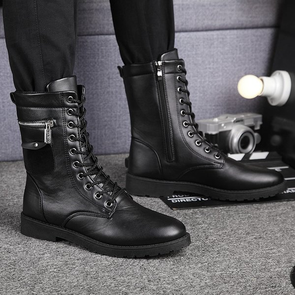 HOT mens skull metal chain lace up buckle knee high boots military pull on shoes