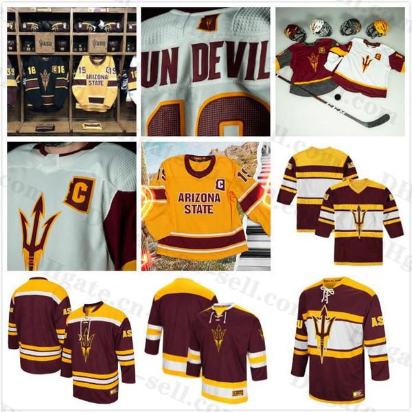 Custom Mens Arizona State Sun Devils College 12 Dylan Hollman 35 Joey Daccord Maroon Red Qualsiasi nome numero maglie hockey Taglia S-XXXL