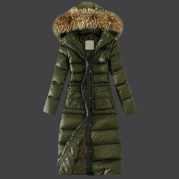Chaqueta larga de invierno para mujer 2019 Abrigo de piel Chaqueta muy larga Chaqueta verde militar Abrigo ligero Plump duck down Anorak Talla grande