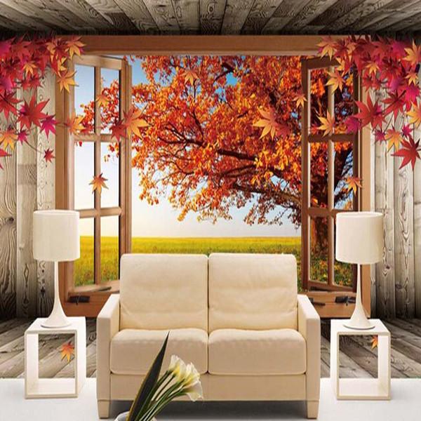Personnalisé 3D Paysage Photo Papier Peint Naturel Automne Paysage Jaune Feuilles Mur Amélioration De La Maison Chambre Salle TV Toile de Fond