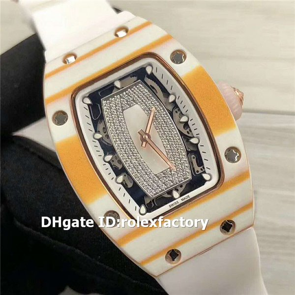 Top RM 07-01 White Yellow Ceramic Lady Watch M6T51 Automatic Sapphire Crystal Diamond Dial Rubber Strap Swiss Ladies Watches Luminous