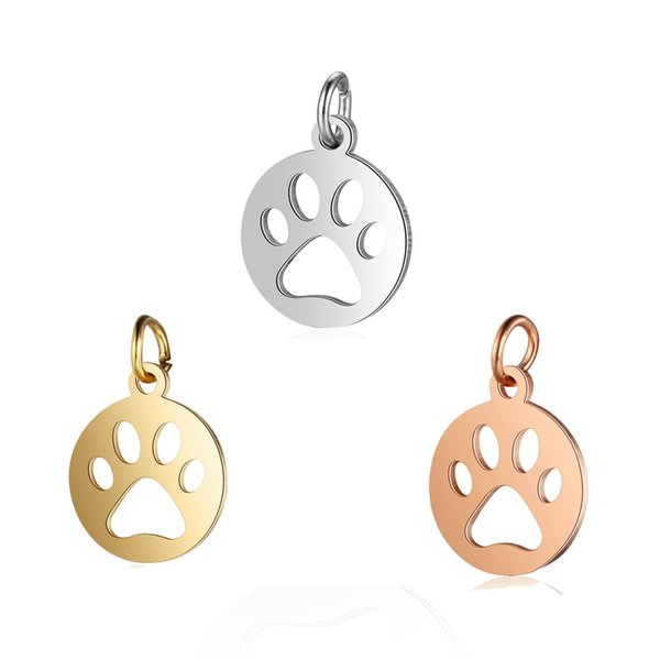 Stainless Steel Round Dog Charm Metal Gold/Rose Gold/Steel Color Pendant Polish15*16mm Mini Charms Handmade Accessories