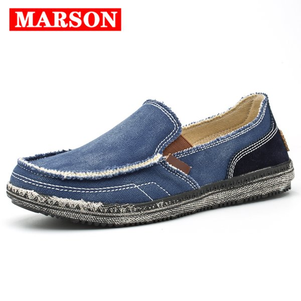 MARSON Hommes Classique Chaussures De Toile Baskets Décontractées Chaussures Lazy Hommes Mocassin Hommes Slip On Loafer Denim Délavé Casual Flat Loafers