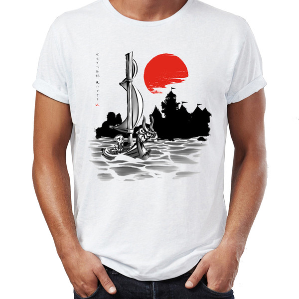 Men's T Shirt Toon Link the Wind Waker Zelda Under the Red Sun Japanese Traditional Painting Gaming Tee