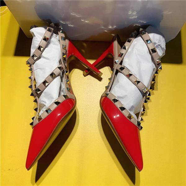 Donne libere di modo di trasporto scarpe in pelle verniciata rossa picchi di roccia rivetti punta a punta tacchi sottili tacchi alti pompe tacchi a spillo per le donne9.5 cm