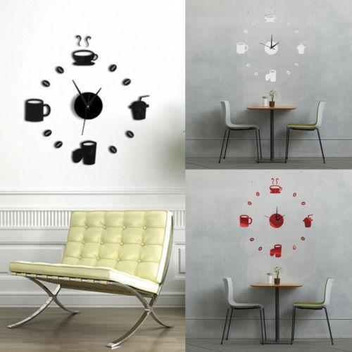 1PCS DIY 3D 스티커 벽 시계 예술 스티커 홈 장식 거울 거실 대형 아트 디자인 벽화 비닐 스티커