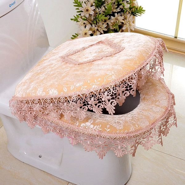 Toilet Seat Cover Two-piece Zipper Seat Cover Waterproof Toilet Cushion Set Lid Cushion Lace Seat Cushion Bathroom Accessories