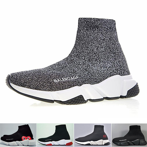 Balenciaga Zapatillas de deporte Speed ​​Trainer Black Red Gypsophila Triple Black Fashion Flat Sock Boots Zapatos casuales Speed ​​Trainer Runner With Dust Bag R-CA689