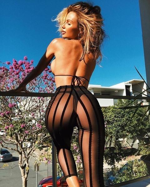 Sexy durchsichtig hose frauen sommer cory urlaub schwarz mesh gestreifte hose weibliche heiße elastische bleistift knöchellangen jogger