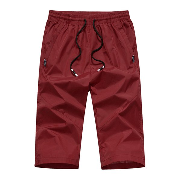 Los pantalones de los hombres ocasionales al aire libre de secado rápido delgado deportes recreativos Capri pantalones de playa pantalones de alta calidad y cómodo a0328