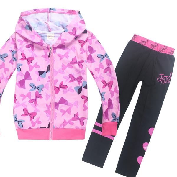 큰 아이들을위한 조조시와 유아 소녀 겨울 옷 긴 소매 지퍼 코트 + 바지 2 개 작은 아기 의류 유아 셔츠는 T191014를 설정