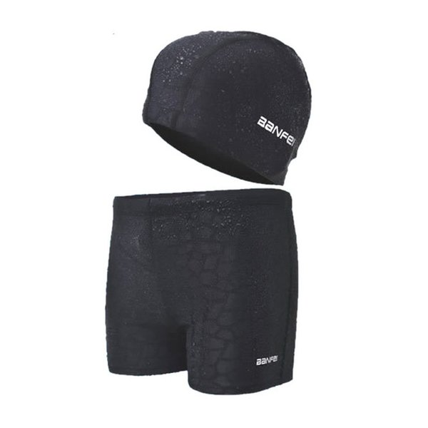 Men 'S Swimming Trunks Boxer For Boys Swimsuit Spa With Swimming Cap Beach Trunks Plus Size Swimwear