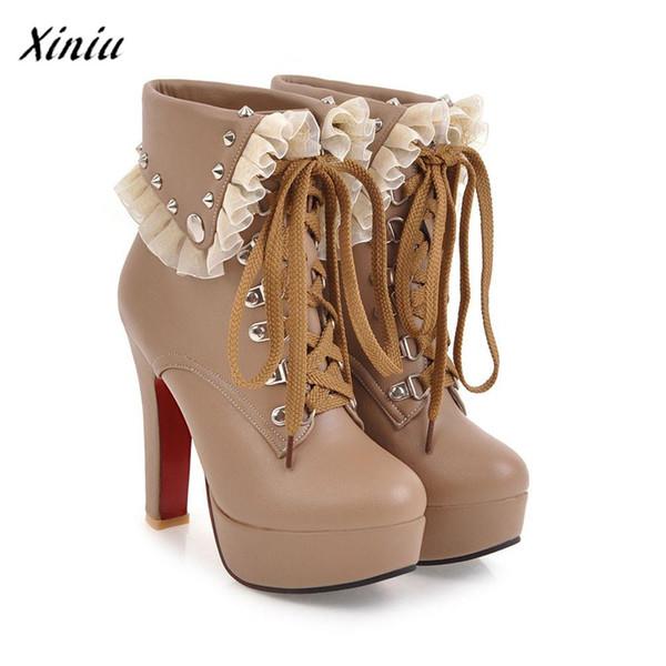 ... botas para el ejército. Moda Zapatillas Mujer Plataforma Mujer Remaches  Zapato de tobillo de tacón alto Diseñador vintage de alta c99aba4face7
