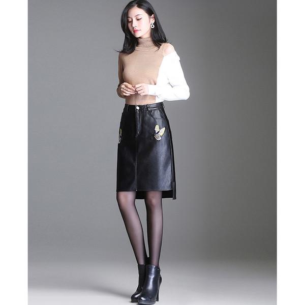 4XL Plus Size Hohe Taille Sticken Irreguar Saum PU Kunstleder Knielangen Rock Midi Rock Jupe Falda Cuero Streetwear Saias