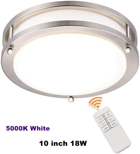 LED plafond Luminaire, 10 pouces, 18W (équivalent 75W), 1800lm Dimmable avec télécommande, 5000K Lumière du jour, Round Nickel brossé Lightin