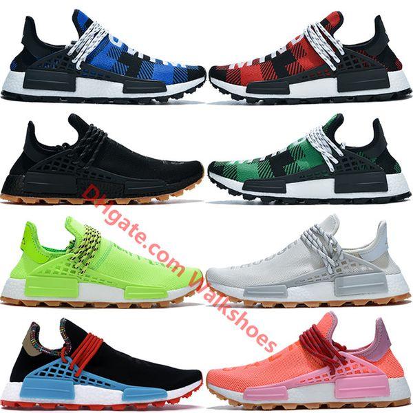 Neue NMD BBC Pharrell Williams Human Race Laufschuhe Herren Damen Infinite Species Blau Grün Plaid HU Gelb Solar Pack Designer Sneakers