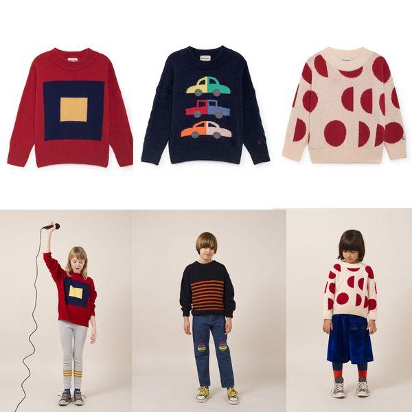 2019 neue Herbst Kinder Pullover Bobo Choses Jungen Mädchen Strickwaren Merino Quadrate Autos Moons Jumper Tops Tees Baumwolle Kinder Kleidung