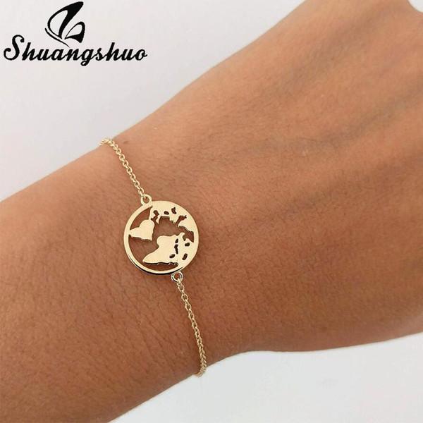 Shuangshuo Chain Link World Map Bracelets & Bangles Jewelry Globe Bracelet Charm Travel Jewellery Gift Wanderlust Earth Bracelet