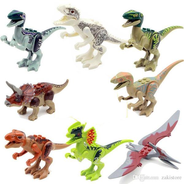 Dinosaur World Mini Blocks Movie Kid Baby Toys 8pcs/lot Building Blocks Sets Model Brick For Children