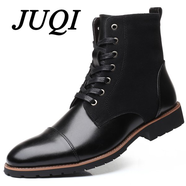 02bb573969540 JUQI New Handmade Men Leather Winter Boots High Quality Warm Snow Men Boots  Ankle Boots For Men Business Dress Shoes Mens Dress Boots Green Boots From  ...