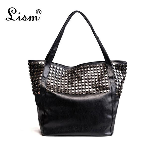 Женская повседневная большая сумка Модные женские сумки на ремне Известный бренд Pu Кожаные сумки Винтаж Заклепки Bolsos Mujer Большой емкости MX190716