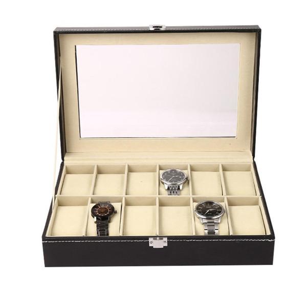 New Jewelry Watch Display Box Collection Case Holder Organizer Storage Exhibition Hall Shop Home etc Metal Buckle Black
