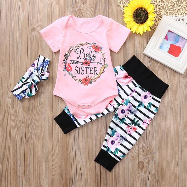 good quality Fashion baby Girls Clothing Set 3PCs Romper Jumpsuit Floral Striped Pants kids clothes Brand Infant Clothing roupas meni