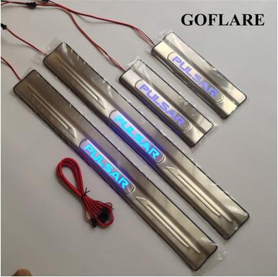 auto led door sill protector for Nissan Pulsar C13 illuminated door sills plate entry scuff plate Covers car styling stickers threshold