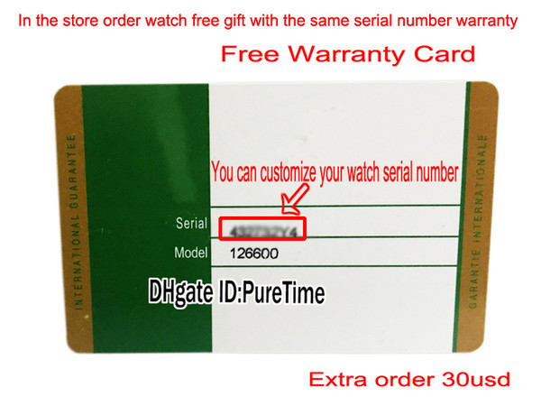 Customer-defined warranty card