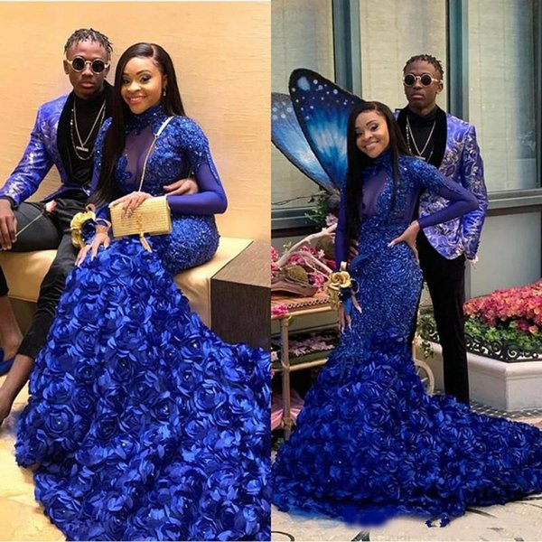 Sheer Long Sleeve Prom Dresses 2019 Royal Blue High Neck Lace Applique 3D Rose Floral Mermaid Evening Gowns African Flowers Party Gowns