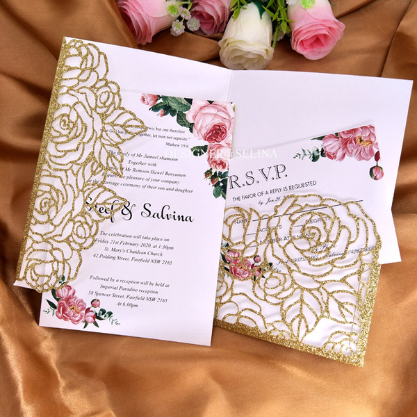 Gold Glitter Palm Laser Cut Wed Invitation Cards Diy Pocket Invitations For Bridal Shower Party Quinceanera Invites With Envelope Make Your Own