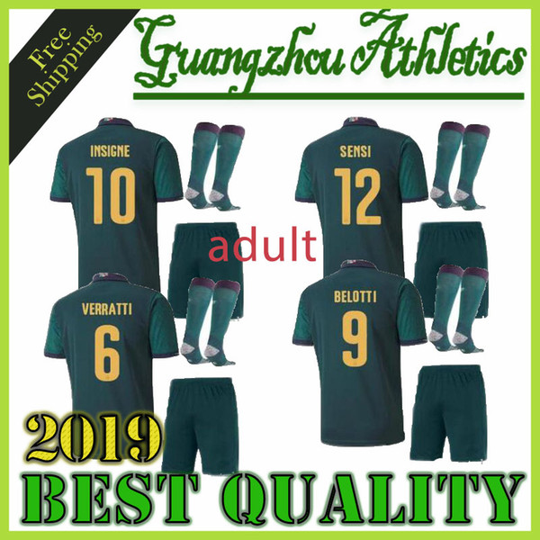 top popular New men 2019 20 ITALY European Cup soccer Jersey 19 20 Dark green CHIELLINI EL SHAARAWY BONUCCI INSIGNE BERNARDESCHI FOOTBALL SHIRTS 2019