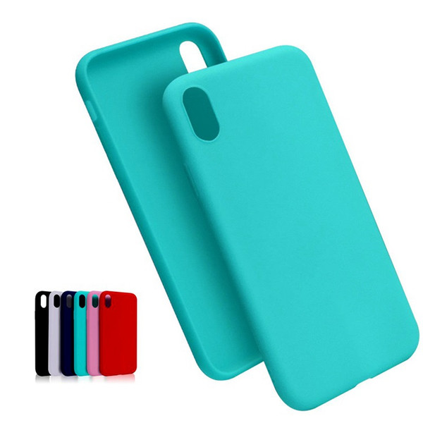 New matte solid candy color TPU case for iphone Xs max XR X 7 8 6S plus silicone soft rubber cell phone case cover slim design opp package