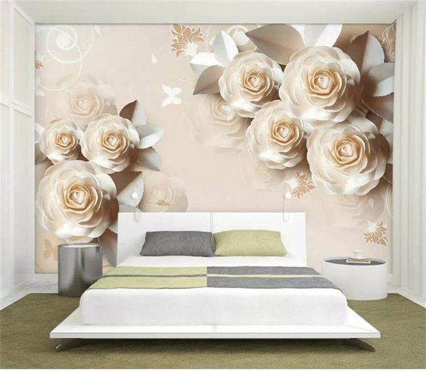 custom size 3d photo wallpaper living room 3d wall mural paper carving rose romantic emboss picture sofa TV backdrop non-woven wall sticker