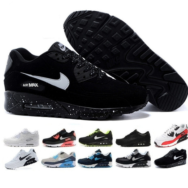 2019 nuevos zapatos de los hombres clásicos del instructor 90 mujeres baratas 90 Calzado deportivo Negro Rojo Blanco diseñador del amortiguador de aire Air90 las zapatillas de deporte