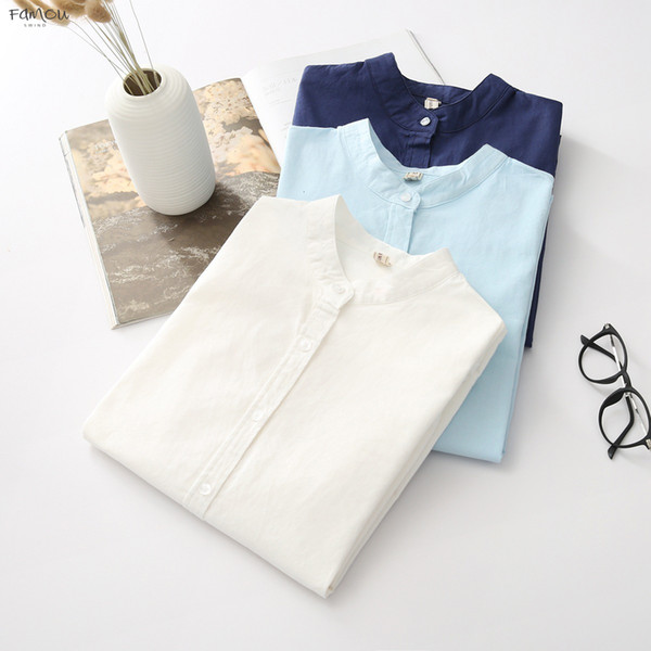 New Arrival Womens Shirt Color Cotton Stand Collar Solid Casual White Long Sleeve Blouses Simple Style Lady Tops