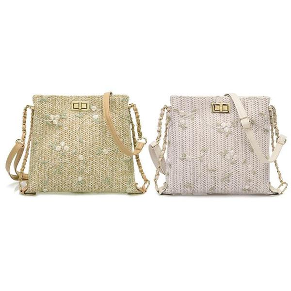 Straw Shoulder Crossbody Messenger Bags Ladies Fresh Flower Women Handbags