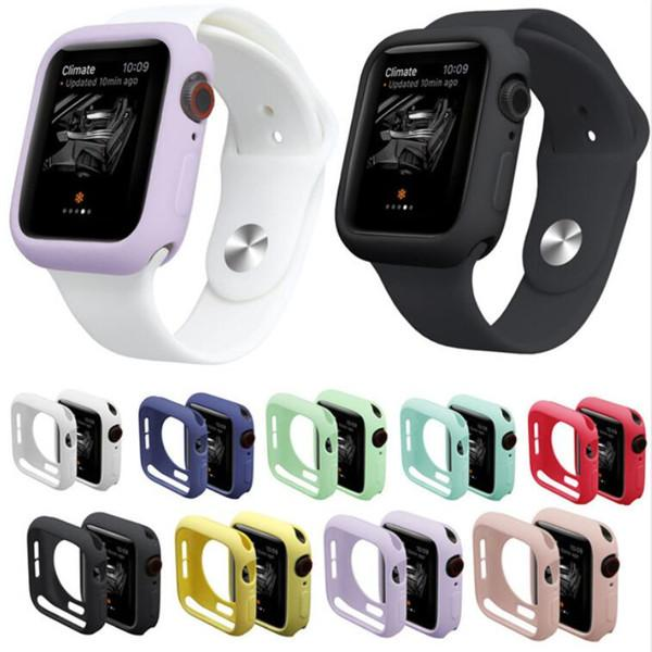 9 Colors Watch Case for iWatch Series 4 Cover Fall Resistance Soft TPU Silicone Case for Apple Watch 38mm 42mm 44mm 40mm