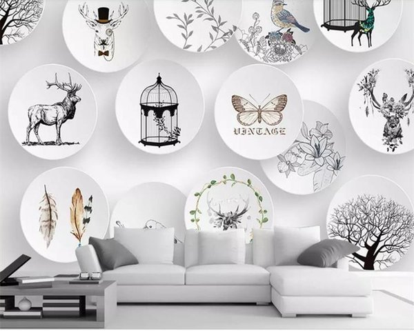 custom size 3d photo wallpaper livingroom mural porcelain plate Chinese painting picture sofa TV background wall wallpaper non-woven sticker