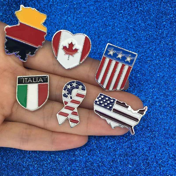 National flags Enamel Pin Canadian American German Italian Flag Brooch Pin Button Hat Bag Clothes Collar Pin Badge Jewelry Gift drop ship