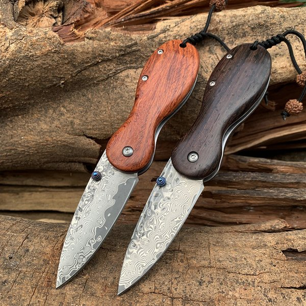 Hot Handmade red rosewood Damascus Pocket Knife VG10 Tactical Folding Knife Collection Hiking Fishing Hunting Knives