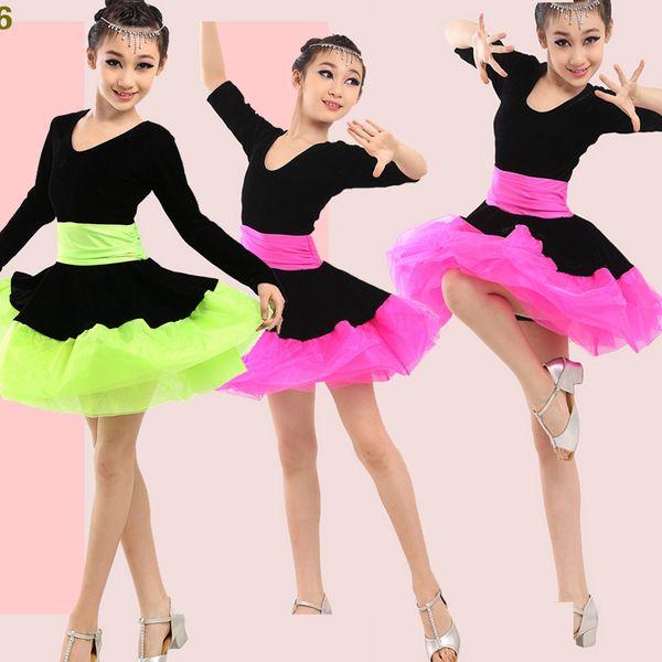Fille manches longues Latin Dance Dress Ballroom Dancing enfants Robe enfants Salsa Rumba Cha Cha Samba Tango usure étape