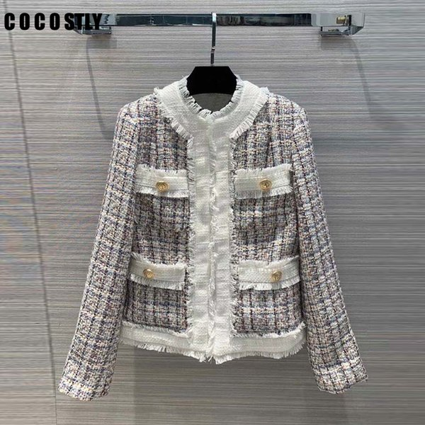 2019 New Fashion Jackets Women Coat Pockets Womens Jackets and Coats Vintage High Street Tweed Jacket Crop Coat Female Jacket