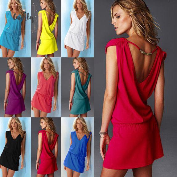 Summer Dress V delle donne del collare signore vestito sexy da modo Vestito Giallo donne più di formato Vestiti Backless nero Stilisti