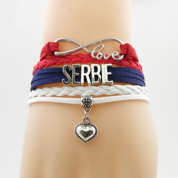 Infinity Love Serbia Bracelet Heart Charm Bracelet Serbia National Flag Bracelet & Bangles For Woman And Man Jewelry