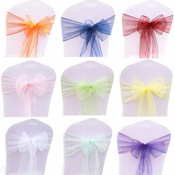 op Sale 50PC/Set Wedding Organza Chair Sashes Bow Knot For Banquet Event Birthday Party Decoration Home Textile Chair Cover Top Sale 50PC...