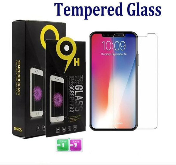 9H hardness Tempered Glass For iphone7 iphone XR film Screen Protectors Anti-Scratch shatterproof Protector For samsung s10 A10 with retail