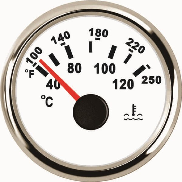 52mm Water Temp Gauge Meter 40-120 For Boat Car Yacht 12V 24V With Backlight